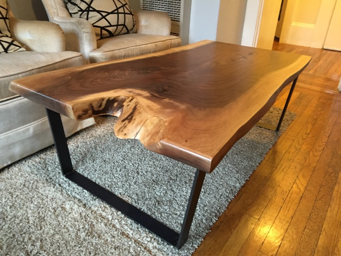 Live Edge Black Walnut Slab Coffee Table. Live Edges On Both Sides. Natural  Satin Finish. Supported By Four Custom Made Steel Rod Hairpin Legs.