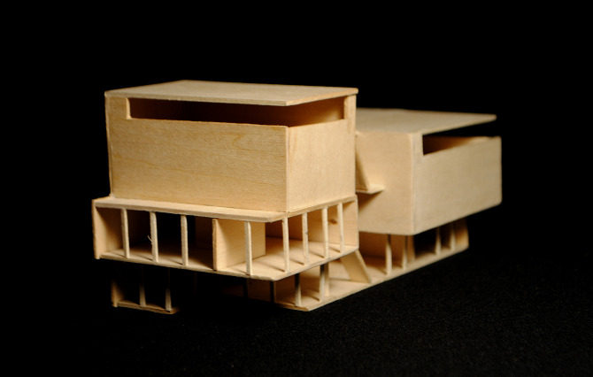 Architectural models exploring the differences between interior and